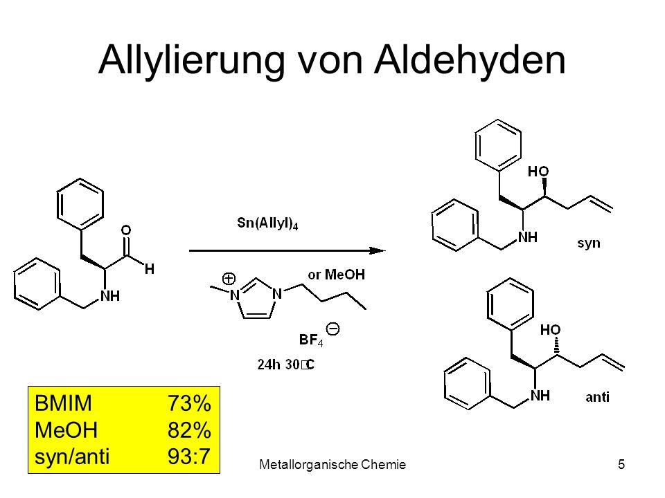 Metallorganische Chemie35 Kulinkovich Reaktion ClTi(OR) 3 /Ti(OR) 4 R= i Pr, t Bu RMgXR= Et, Pr, Bu LösungsmittelEt 2 O, THF, Toluol Toleranz funktioneller Gruppen: Ether, ImineR-O-R, R-S-R, RN=CHR Inkompatible funktionelle Gruppen: AmideRCONH-R 1°-, 2°-AmineR-NH 2 Carbamate: ROCONH-R
