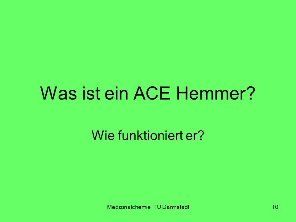 Medizinalchemie TU Darmstadt10 Was ist ein ACE Hemmer? Wie funktioniert er?