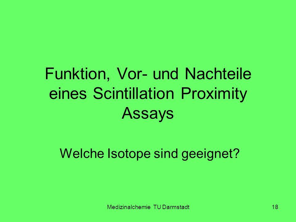 Medizinalchemie TU Darmstadt18 Funktion, Vor- und Nachteile eines Scintillation Proximity Assays Welche Isotope sind geeignet?