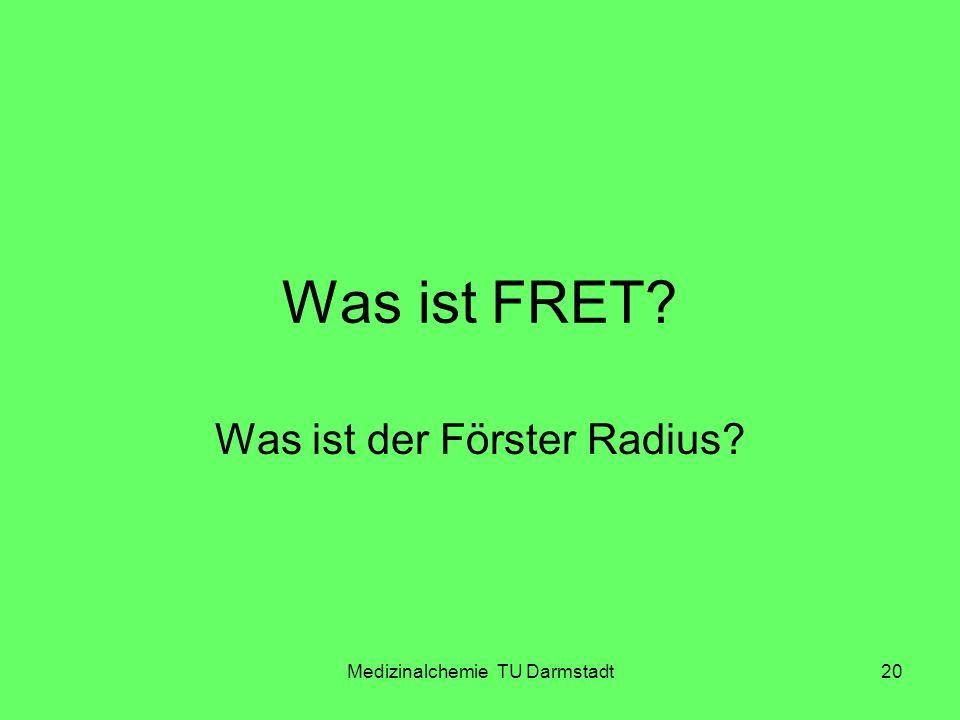 Medizinalchemie TU Darmstadt20 Was ist FRET? Was ist der Förster Radius?