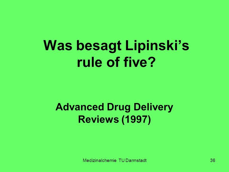 Medizinalchemie TU Darmstadt36 Was besagt Lipinskis rule of five? Advanced Drug Delivery Reviews (1997)