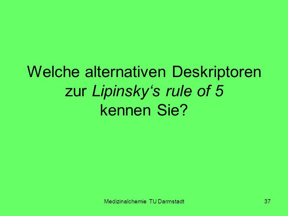 Medizinalchemie TU Darmstadt37 Welche alternativen Deskriptoren zur Lipinskys rule of 5 kennen Sie?