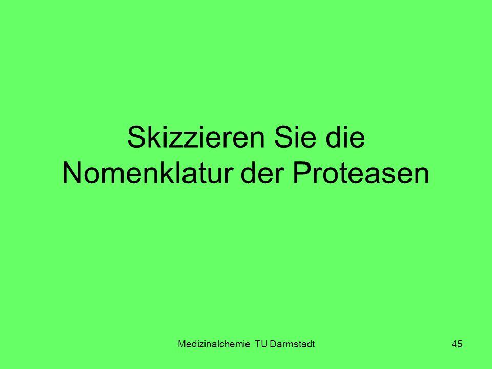 Medizinalchemie TU Darmstadt45 Skizzieren Sie die Nomenklatur der Proteasen