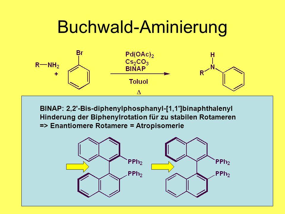 Medizinalchemie TU Darmstadt69 Buchwald-Aminierung Oxidative Addition Ligandenaustausch Reduktive Eliminierung BINAP: 2,2'-Bis-diphenylphosphanyl-[1,1
