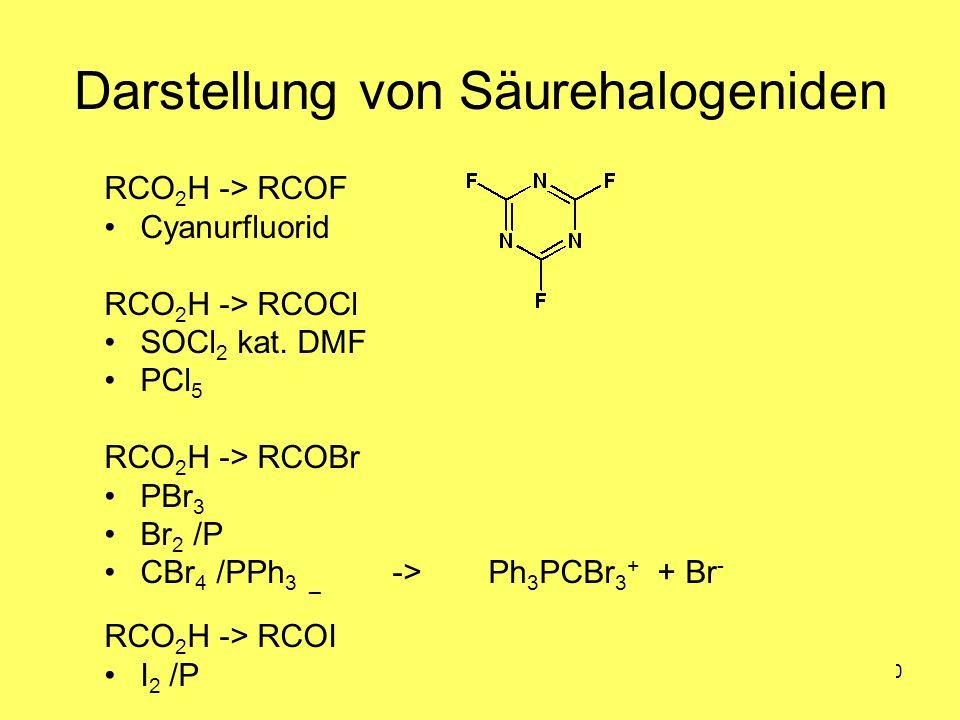 Medizinalchemie TU Darmstadt80 Darstellung von Säurehalogeniden RCO 2 H -> RCOF Cyanurfluorid RCO 2 H -> RCOCl SOCl 2 kat. DMF PCl 5 RCO 2 H -> RCOBr