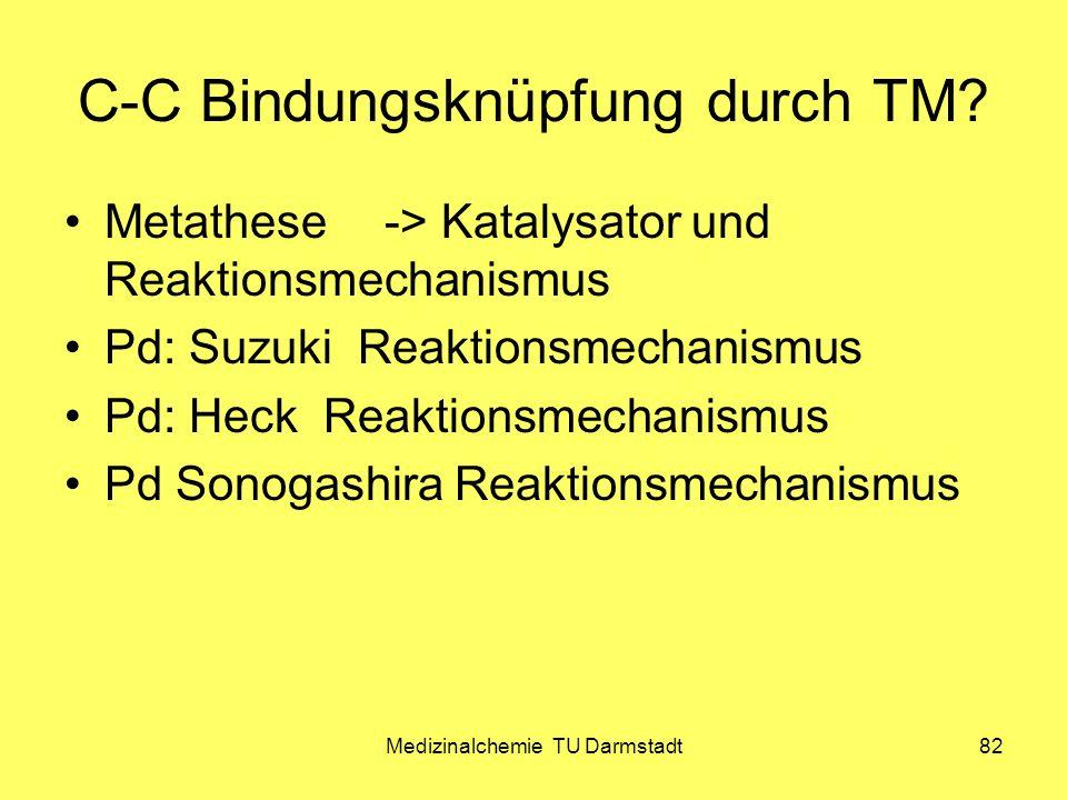 Medizinalchemie TU Darmstadt82 C-C Bindungsknüpfung durch TM? Metathese-> Katalysator und Reaktionsmechanismus Pd: Suzuki Reaktionsmechanismus Pd: Hec