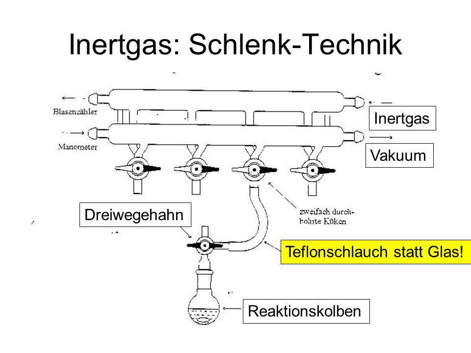 Metallorganische Chemie15 Inertgas: Schlenk-Technik Teflonschlauch statt Glas! Vakuum Inertgas Reaktionskolben Dreiwegehahn