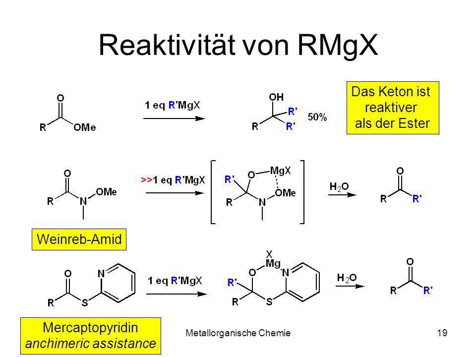 Metallorganische Chemie19 Reaktivität von RMgX Das Keton ist reaktiver als der Ester Weinreb-Amid Mercaptopyridin anchimeric assistance