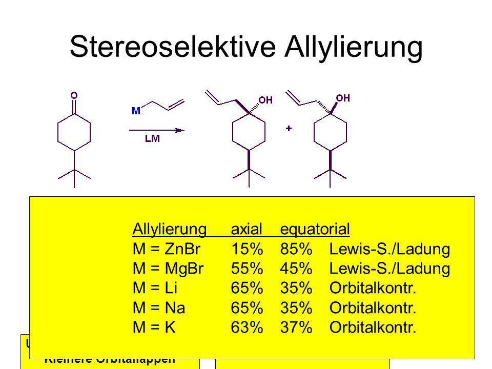 Metallorganische Chemie2 Stereoselektive Allylierung Konkave Seite 1,3-diaxiale Interaktion Ungehinderte, konvexe Seite Kleinere Orbitallappen Lewis S