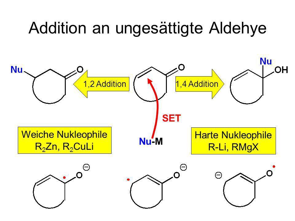Metallorganische Chemie25 Addition an ungesättigte Aldehye 1,4 Addition 1,2 Addition Harte Nukleophile R-Li, RMgX Weiche Nukleophile R 2 Zn, R 2 CuLi