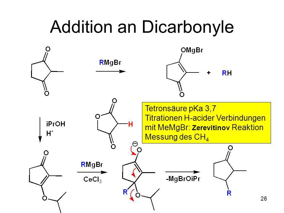 Metallorganische Chemie26 Addition an Dicarbonyle Tetronsäure pKa 3,7 Titrationen H-acider Verbindungen mit MeMgBr: Zerevitinov Reaktion Messung des C