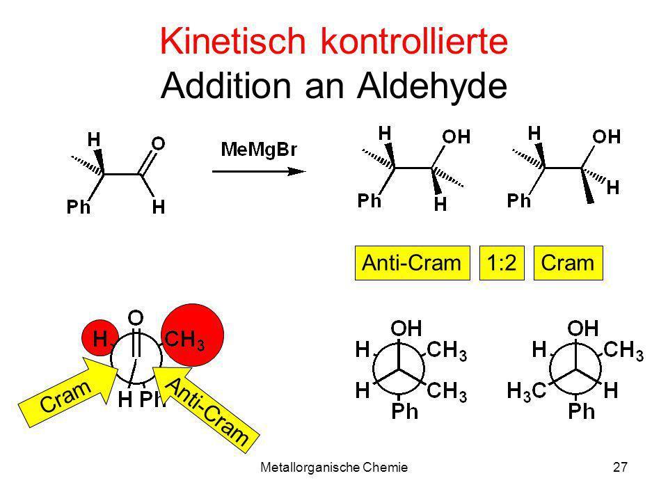 Metallorganische Chemie27 Kinetisch kontrollierte Addition an Aldehyde Anti-CramCram1:2 Cram Anti-Cram