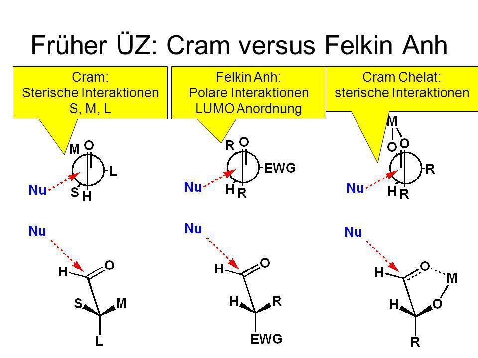 Metallorganische Chemie29 Früher ÜZ: Cram versus Felkin Anh CramFelkin AnhCram Chelat Cram: Sterische Interaktionen S, M, L Felkin Anh: Polare Interak