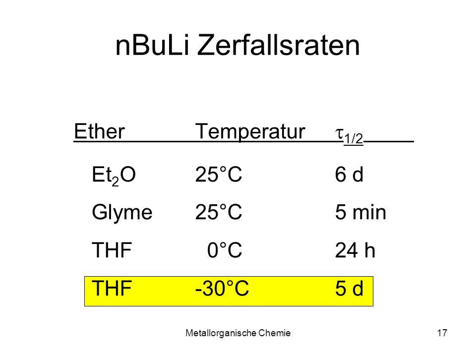 Metallorganische Chemie17 nBuLi Zerfallsraten Ether Temperatur 1/2 Et 2 O25°C6 d Glyme25°C5 min THF 0°C24 h THF-30°C5 d