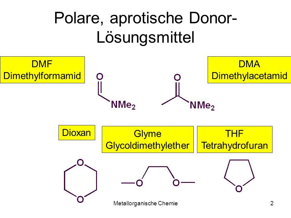 Metallorganische Chemie13 Lithium-Alkylid Darstellung MeLi 70g (10 mol) Lithium-Stücke und 200 ml Et 2 O werden im hermetisch luftdicht verschlossenem (Hg-Dichtung/Schlenk) 4 L Kolben intensiv gerührt (kein Teflonrührfisch!) 0.25 L MeCl (5 mol bei -25°C) werden als Gas (Sdp -24.2°C) eingeleitet.