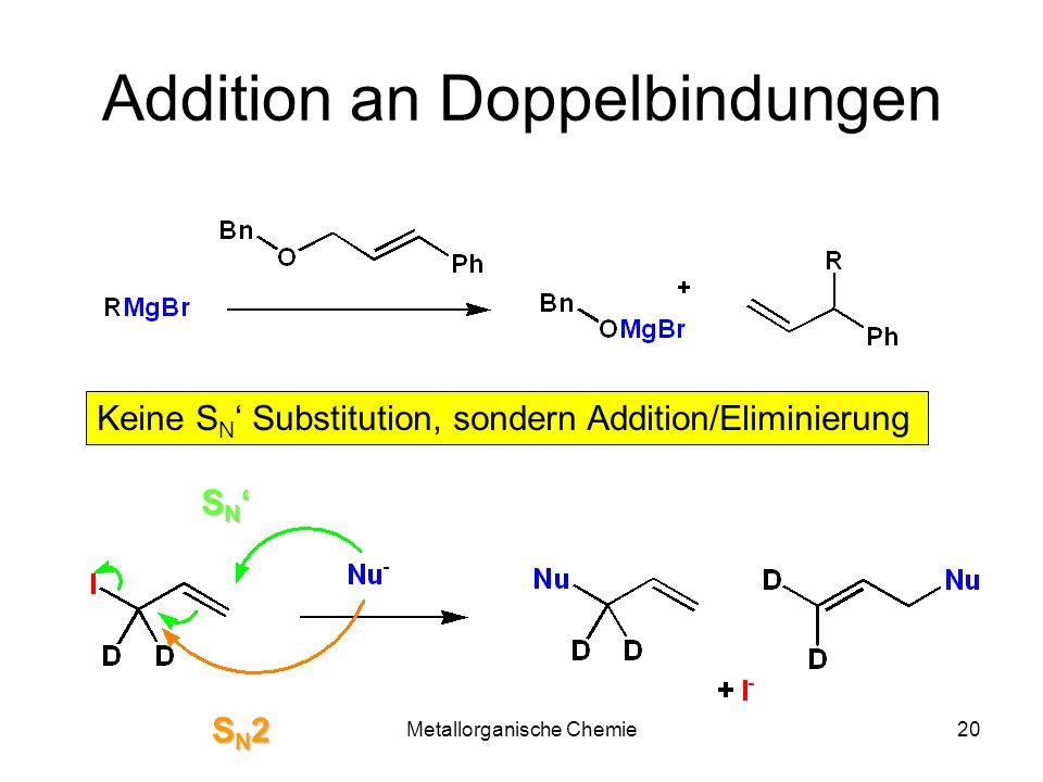 Metallorganische Chemie20 Addition an Doppelbindungen Keine S N Substitution, sondern Addition/Eliminierung S N S N SN2SN2SN2SN2