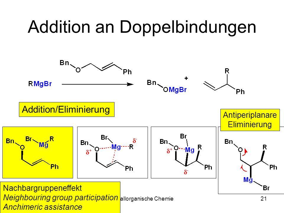 Metallorganische Chemie21 Addition an Doppelbindungen Addition/Eliminierung Antiperiplanare Eliminierung Nachbargruppeneffekt Neighbouring group parti