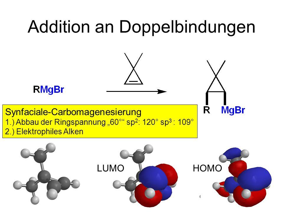 Metallorganische Chemie22 Addition an Doppelbindungen LUMOHOMO Synfaciale-Carbomagenesierung 1.) Abbau der Ringspannung 60° sp 2 : 120° sp 3 : 109° 2.
