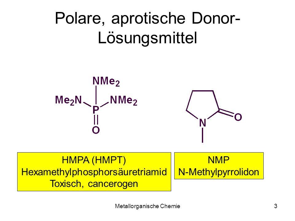 Metallorganische Chemie44 Grignard Darstellung LM: Et 2 O, THF, Dioxan, DCM Additive:I 2, 1,2-Dibromethan, Dioxan, TMEDA, HgCl 2 -> Amalgam, Ultraschall Mg98,5% reicht aus (99,99% tut es aber auch) Pulver: neu, inert gelagert, sonst kontaminiert Späne (wenig kontaminierte Oberfläche) Rieke Mg: MgCl 2 + Li/Naphthalin -> Mg + LiCl Mg: Oxidative Addition C: Reduktive Metallierung