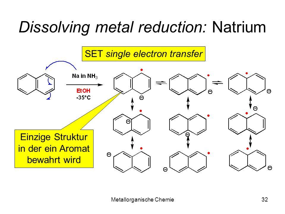 Metallorganische Chemie32 Dissolving metal reduction: Natrium SET single electron transfer Einzige Struktur in der ein Aromat bewahrt wird