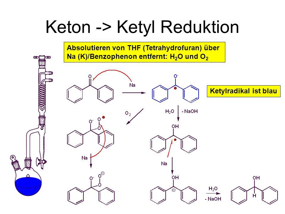 Metallorganische Chemie35 Keton -> Ketyl Reduktion Absolutieren von THF (Tetrahydrofuran) über Na (K)/Benzophenon entfernt: H 2 O und O 2 Ketylradikal
