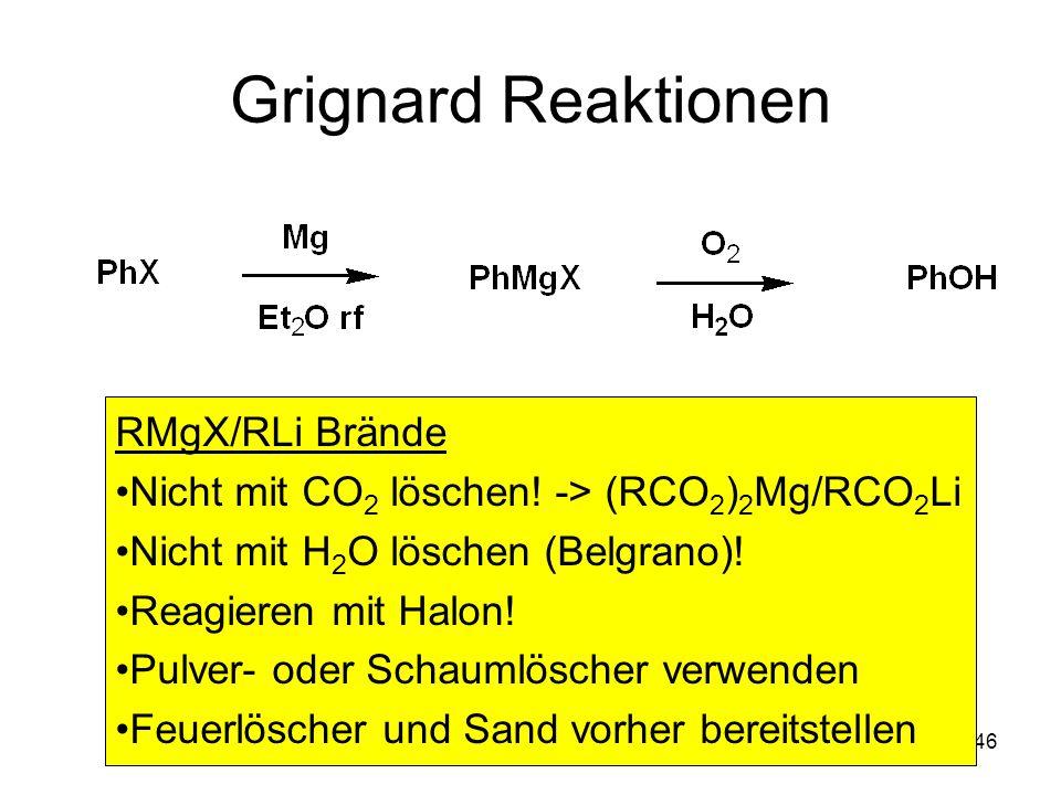 Metallorganische Chemie46 Grignard Reaktionen RMgX/RLi Brände Nicht mit CO 2 löschen! -> (RCO 2 ) 2 Mg/RCO 2 Li Nicht mit H 2 O löschen (Belgrano)! Re