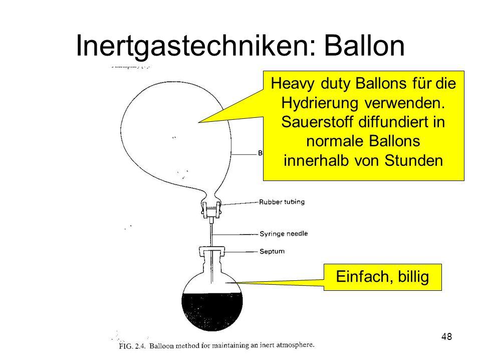 Metallorganische Chemie48 Inertgastechniken: Ballon Heavy duty Ballons für die Hydrierung verwenden. Sauerstoff diffundiert in normale Ballons innerha