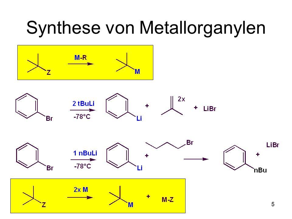 Metallorganische Chemie16 Tägliche Zerfallsraten TemperaturnBuLi nBuLi (90%)secBuLi 0°C0,000010,00050,003 5°C0,00020,00110,006 35°C0,0170,110,32 -Eliminierung Alken und Lithiumhydrid Aufbewahrung bei << 5°C