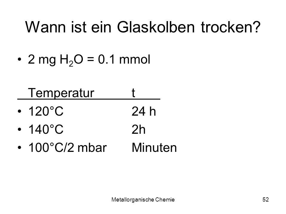 Metallorganische Chemie52 Wann ist ein Glaskolben trocken? 2 mg H 2 O = 0.1 mmol Temperaturt 120°C 24 h 140°C 2h 100°C/2 mbar Minuten