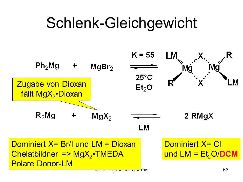 Metallorganische Chemie53 Schlenk-Gleichgewicht Dominiert X= Br/I und LM = Dioxan Chelatbildner => MgX 2 TMEDA Polare Donor-LM Dominiert X= Cl und LM