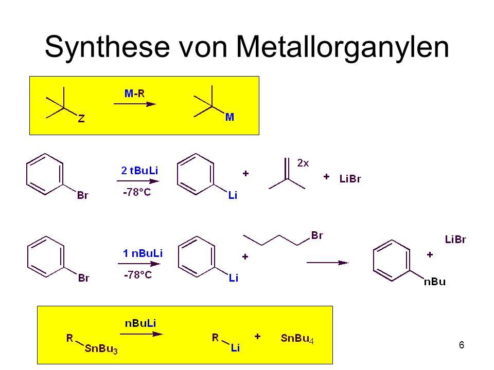 Metallorganische Chemie37 Stereoselektive Reduktion Konkave Seite 1,3-diaxiale Interaktion Ungehinderte Konvexe Seite Kleinere Orbitallappen Kombination aus sterischer Abschirmung und Stereoelektronik: unsymmetrisches C=O Grenzorbital