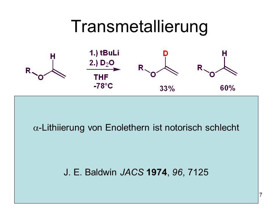 Metallorganische Chemie8 Synthese von Metallorganylen Reduktiver Halogenaustausch Späne: Mg, Zink Pulver: Mg, Zn Oberflächenaktivierung: I 2, ICH 2 CH 2 I, Dioxan, Ultraschall Amalgamierung (Hg):Mg, Zn Cu-PaareMg, Zn Legierung (K)Na (Na/K Smp < 40C)