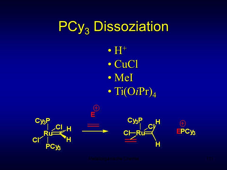 Metallorganische Chemie111 H +H + CuClCuCl MeIMeI Ti(OiPr) 4Ti(OiPr) 4 PCy 3 Dissoziation