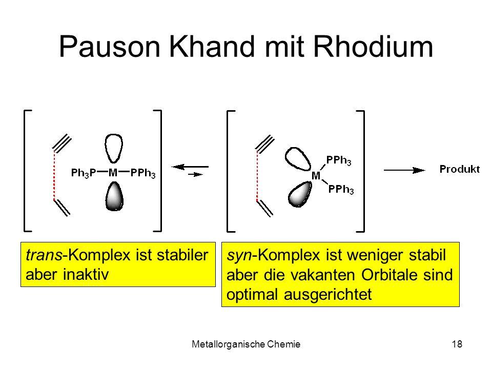Metallorganische Chemie18 Pauson Khand mit Rhodium trans-Komplex ist stabiler aber inaktiv syn-Komplex ist weniger stabil aber die vakanten Orbitale s