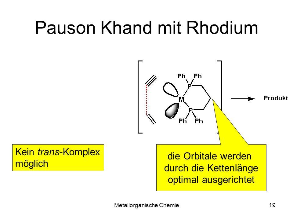 Metallorganische Chemie19 Pauson Khand mit Rhodium Kein trans-Komplex möglich die Orbitale werden durch die Kettenlänge optimal ausgerichtet
