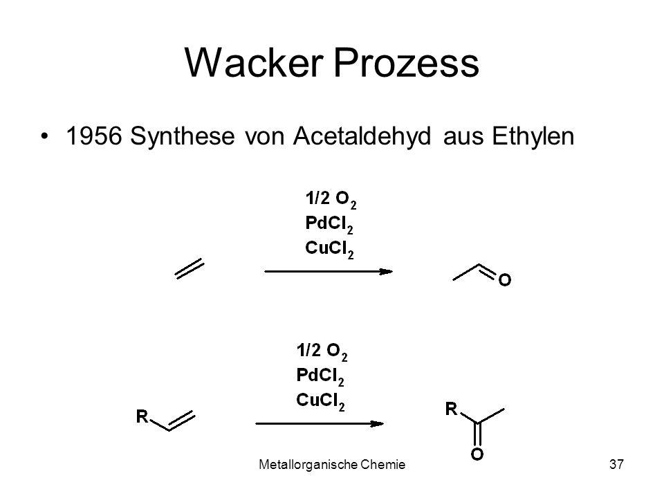 Metallorganische Chemie37 Wacker Prozess 1956 Synthese von Acetaldehyd aus Ethylen