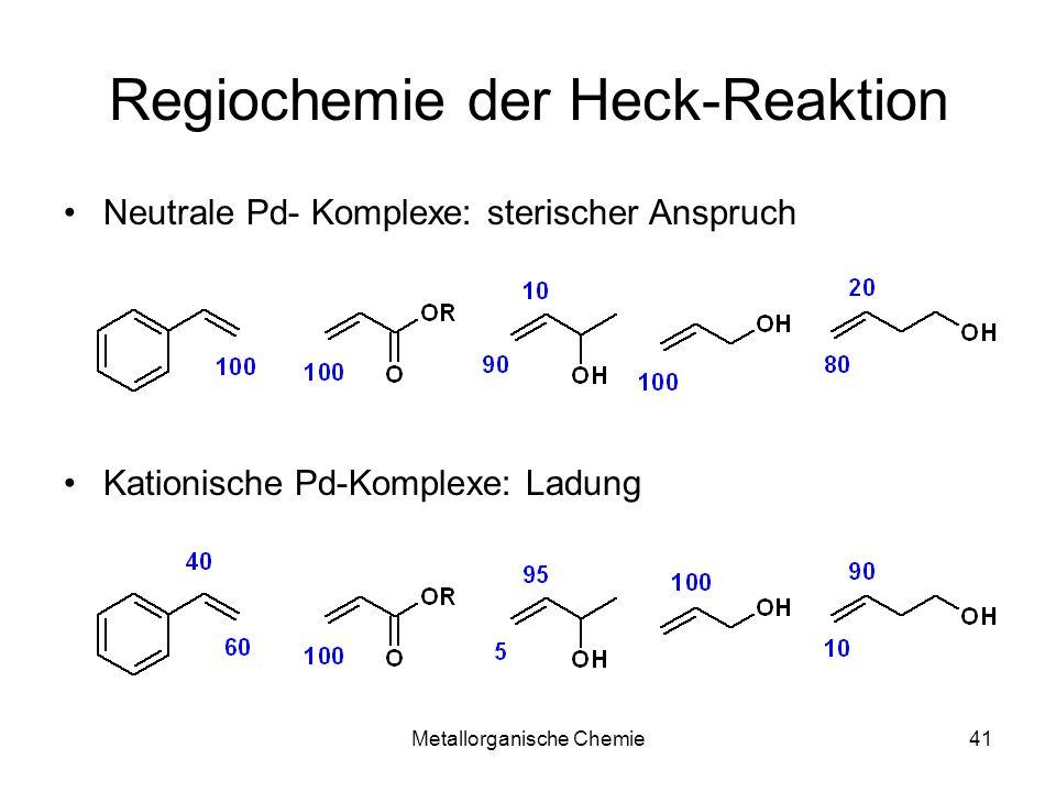 Metallorganische Chemie41 Regiochemie der Heck-Reaktion Neutrale Pd- Komplexe: sterischer Anspruch Kationische Pd-Komplexe: Ladung