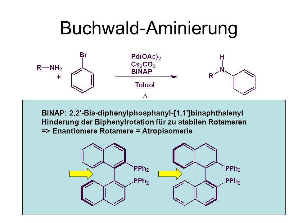 Metallorganische Chemie42 Buchwald-Aminierung Oxidative Addition Ligandenaustausch Reduktive Eliminierung BINAP: 2,2 -Bis-diphenylphosphanyl-[1,1 ]binaphthalenyl Hinderung der Biphenylrotation für zu stabilen Rotameren => Enantiomere Rotamere = Atropisomerie