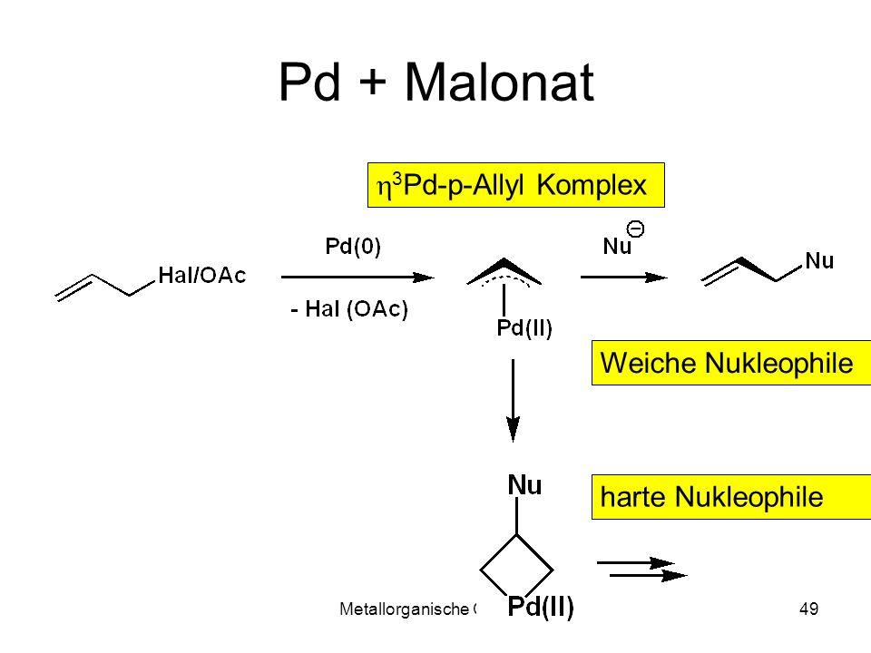 Metallorganische Chemie49 Pd + Malonat 3 Pd-p-Allyl Komplex harte Nukleophile Weiche Nukleophile