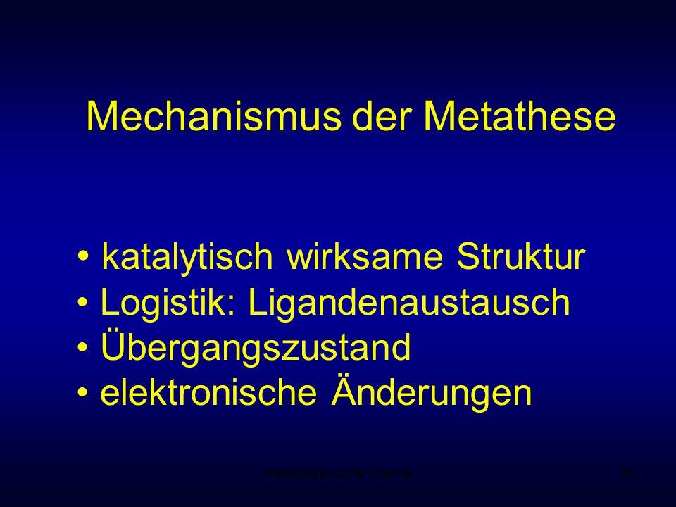 Metallorganische Chemie60 Mechanismus der Metathese katalytisch wirksame Struktur Logistik: Ligandenaustausch Übergangszustand elektronische Änderunge
