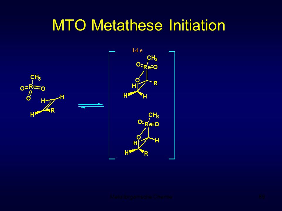 Metallorganische Chemie69 MTO Metathese Initiation 14 e