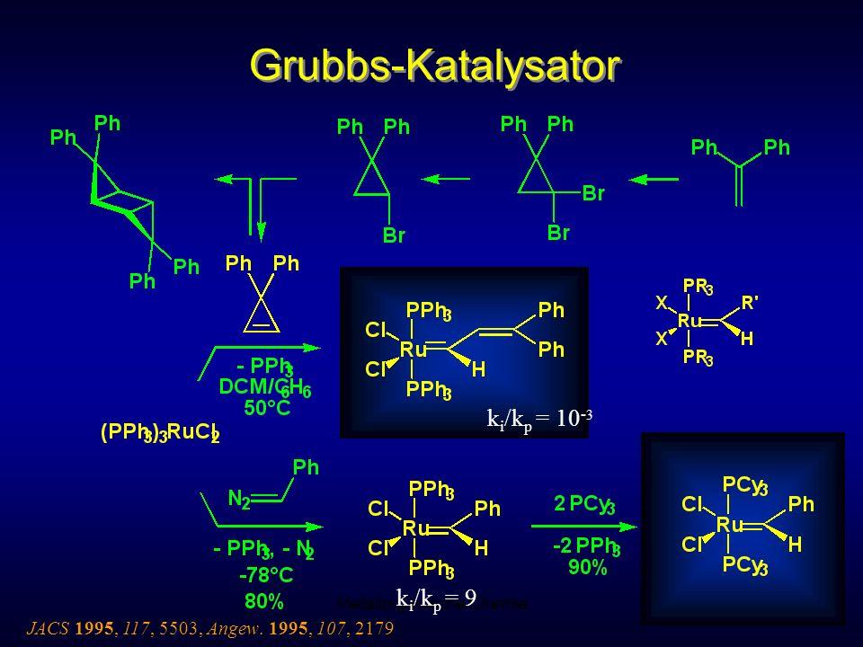 Metallorganische Chemie74 Grubbs-Katalysator JACS 1995, 117, 5503, Angew. 1995, 107, 2179 k i /k p = 10 - 3 k i /k p = 9