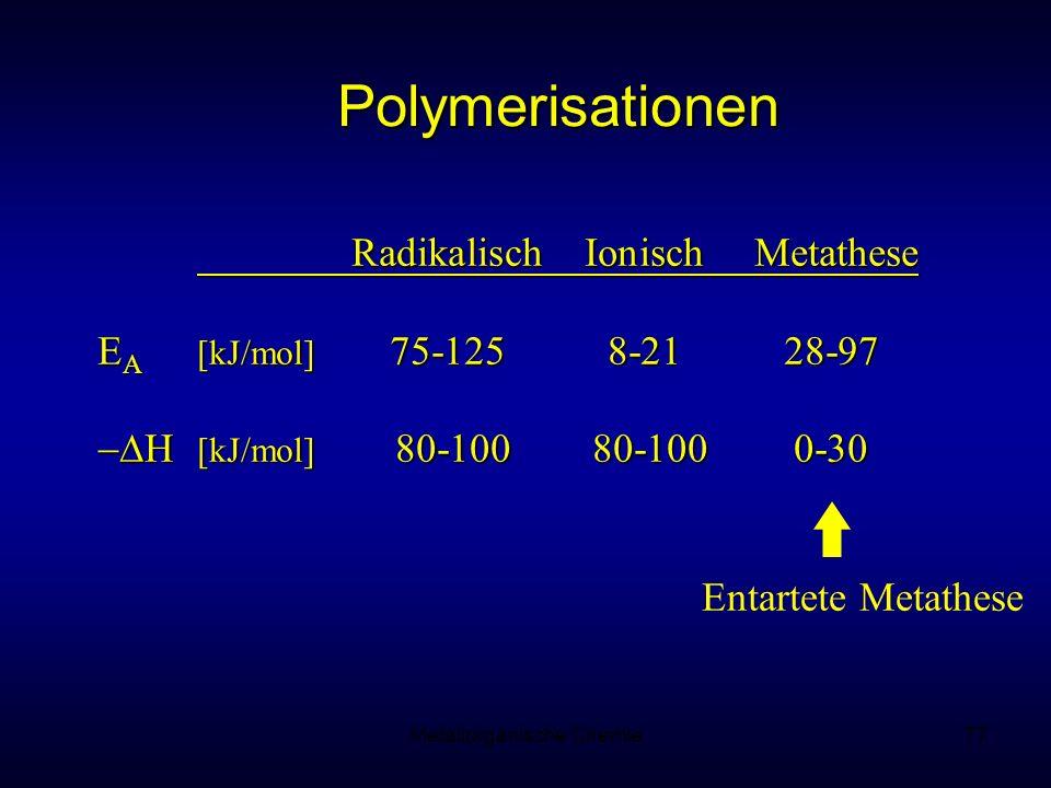 Metallorganische Chemie77 Polymerisationen RadikalischIonisch Metathese E A [kJ/mol] 75-1258-2128-97 H [kJ/mol] 80-100 80-1000-30 H [kJ/mol] 80-100 80-1000-30 Entartete Metathese
