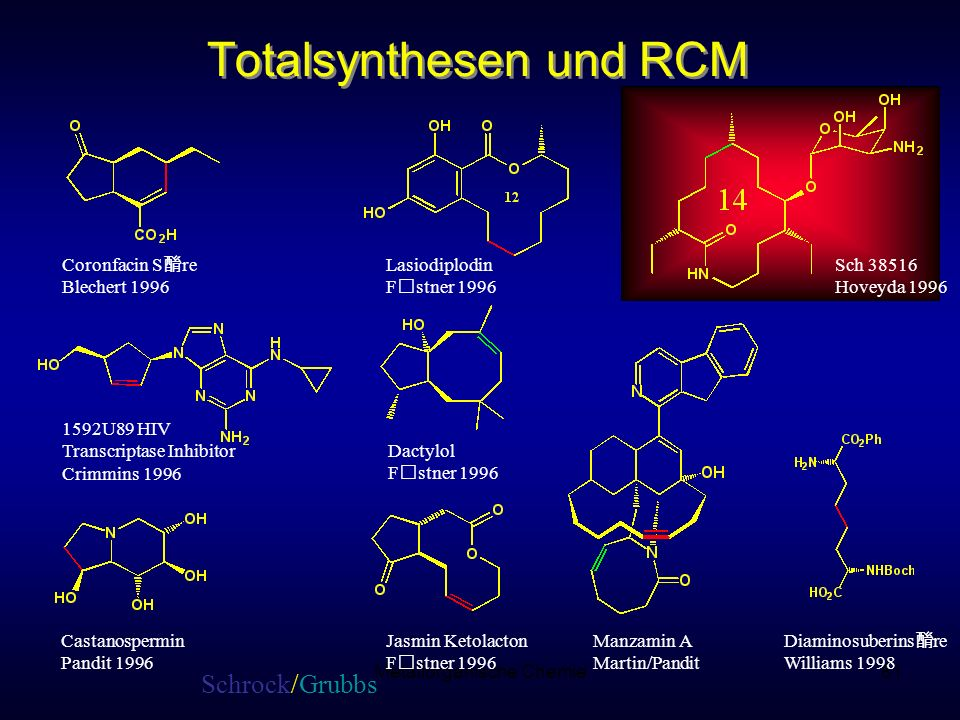 Metallorganische Chemie81 Totalsynthesen und RCM Diaminosuberins re Williams 1998 1592U89 HIV Transcriptase Inhibitor Crimmins 1996 Castanospermin Pan