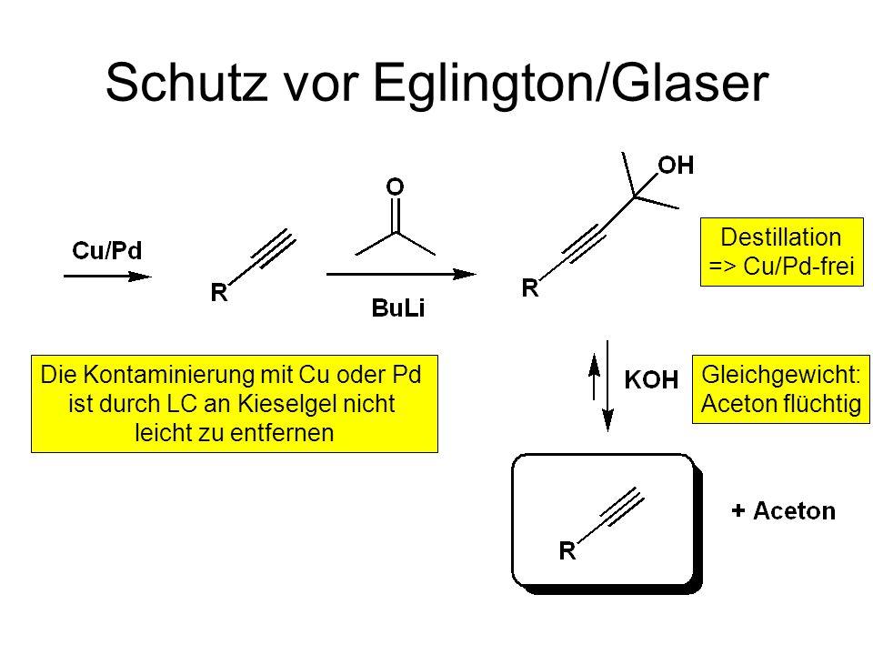 Eglington/Glaser Produkte Pd(II) führt schneller zum gleichen Produkt (bei RT!) => häufig unerwünschte Reaktion durch Pd- oder Cu-Kontaminierung
