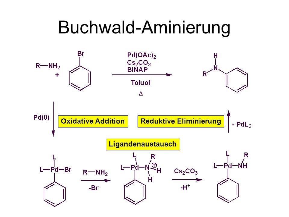 Buchwald-Aminierung Oxidative Addition Ligandenaustausch Reduktive Eliminierung BINAP: 2,2'-Bis-diphenylphosphanyl-[1,1']binaphthalenyl Hinderung der