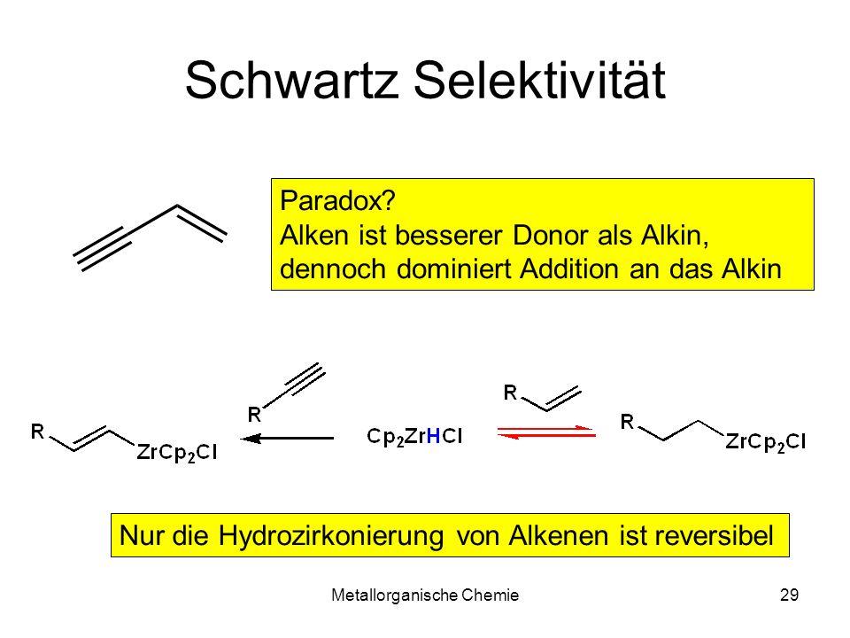 Metallorganische Chemie29 Schwartz Selektivität Paradox? Alken ist besserer Donor als Alkin, dennoch dominiert Addition an das Alkin Nur die Hydrozirk