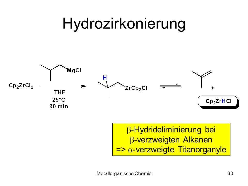 Metallorganische Chemie30 Hydrozirkonierung -Hydrideliminierung bei -verzweigten Alkanen => -verzweigte Titanorganyle