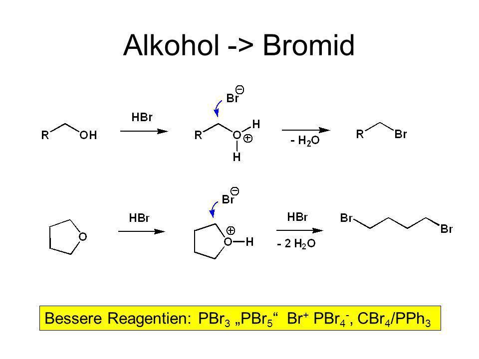 Alkohol -> Bromid Bessere Reagentien: PBr 3 PBr 5 Br + PBr 4 -, CBr 4 /PPh 3