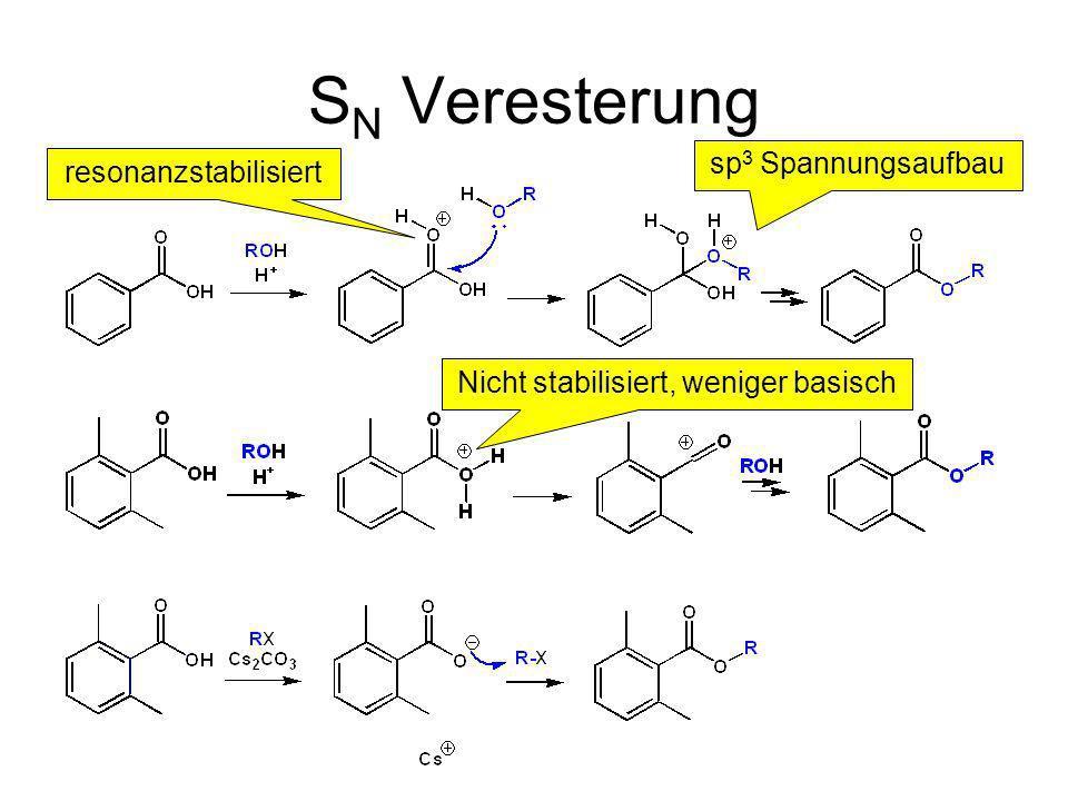S N Veresterung sp 3 Spannungsaufbau Nicht stabilisiert, weniger basisch resonanzstabilisiert